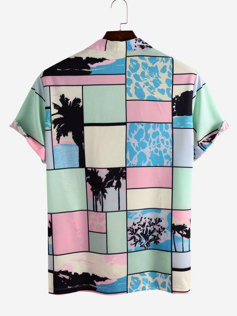 Colorblock Patchwork Palm Tree Vacation Shirt - متعدد XL Mobile