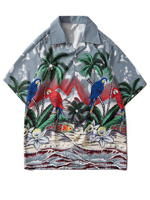 outfits Palm Tree Parrot Beach Scenery Vacation Shirt - GRAY CLOUD S Mobile