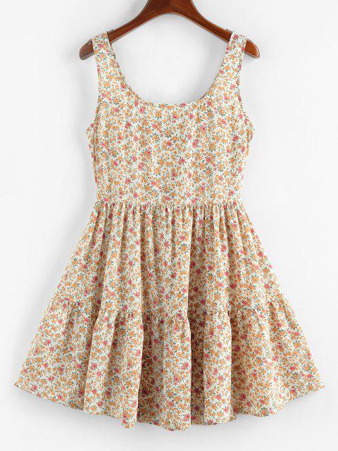 shop ZAFUL Ditsy Floral Ruched A Line Tank Dress - LIGHT COFFEE S Mobile