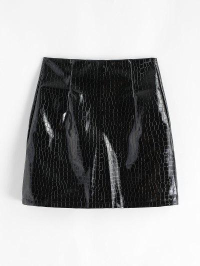 Patent Leather Snakeskin Mini Skirt - Black M