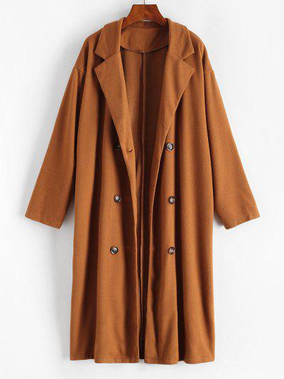Longline Double Breasted Wool Blend Coat - Brown Bear S