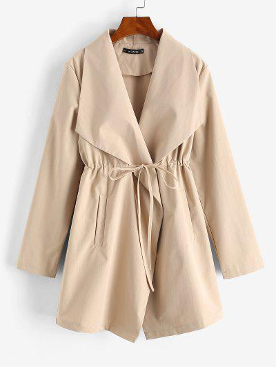 Pockets Drawstring Waist Skirted Coat - Light Coffee L