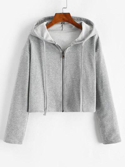 Drawstring Drop Shoulder Zip Up Hoodie - Gray Cloud M
