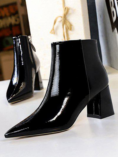 Patent Leather Pointed Toe Chunky Heel Boots - Black Eu 38