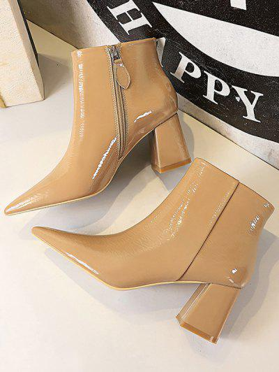 Patent Leather Pointed Toe Chunky Heel Boots - Khaki Eu 40