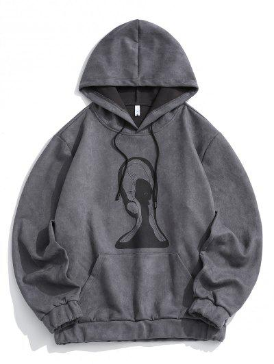Graphic Print Front Pocket Suede Hoodie - Gray Xl
