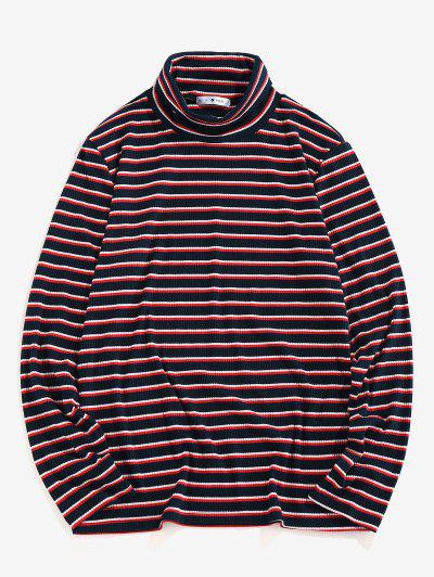 ZAFUL Turtleneck Striped Print Ribbed T-shirt - Deep Blue M