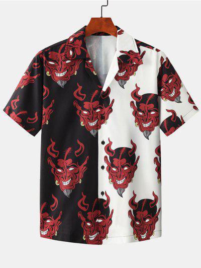 Two Tone Devil Pattern Shirt - Black M
