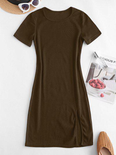 Slit Ribbed Casual Mini Dress - Deep Coffee M