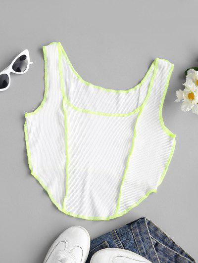 Ribbed Neon Topstitching Crop Tank Top - White L