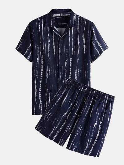 Tie Dye Striped Shirt And Shorts Two Piece Set - Deep Blue S