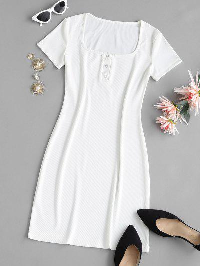 Ribbed U Neck Snap Button Tee Dress - White M