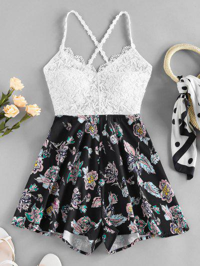 ZAFUL Guipure Flower Criss Cross Wide Leg Romper - Black S