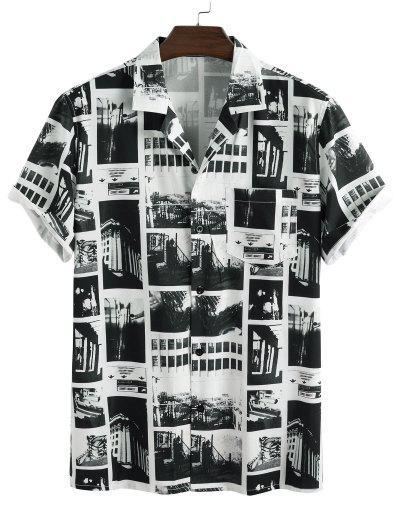 Camisa Manga Corta Parches Vintage - Blanco 2xl
