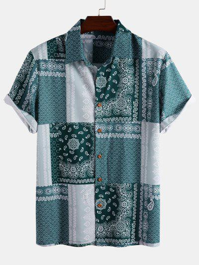 Bandana Patchwork Short Sleeve Shirt - Light Blue L