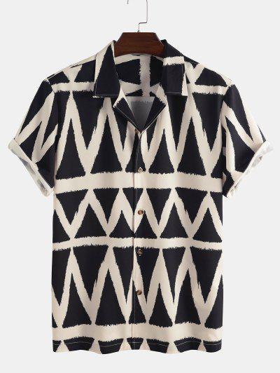 Geometric Pattern Short Sleeve Shirt - Black 2xl