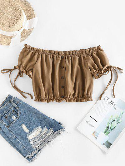 ZAFUL Off Shoulder Ruffle Mock Button Crop Blouse - Light Coffee S
