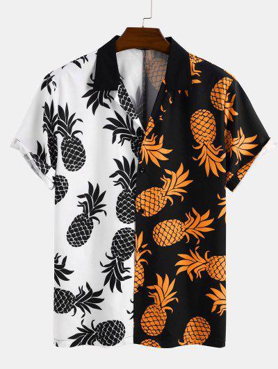 Zweifärbiges Ananas Urlaub Hemd - Schwarz L