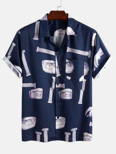 Broken Sculpture Pattern Pocket Shirt - Deep Blue M