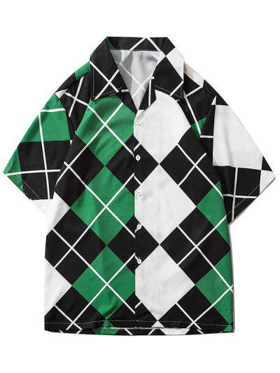 Contrast Geometric Print Short Sleeve Shirt - Medium Sea Green M