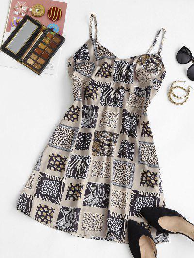 Zebra Leopard Kittel Mini Kleid - Licht Kaffee M