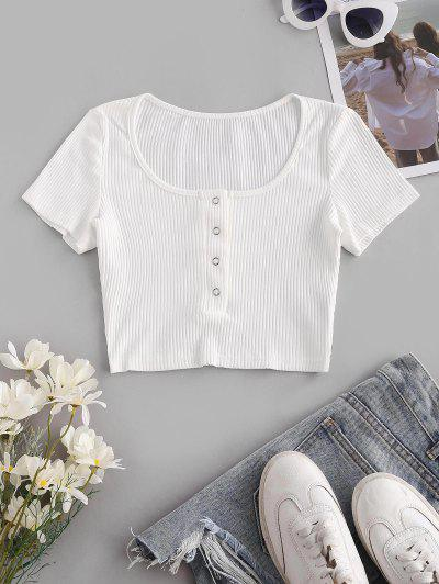 Ribbed Snap Button Henley Crop Tee - White S
