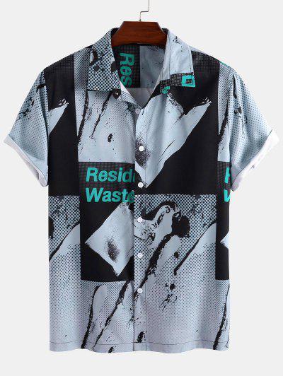 Short Sleeve Residual Waste Polka Dots Patchwork Shirt - Gray L