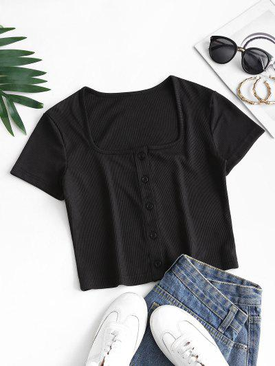 Ribbed Snap Button U Neck Crop Te - Black S