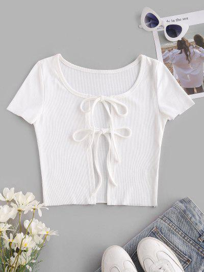 Ribbed Tie Front Crop T Shirt - White L