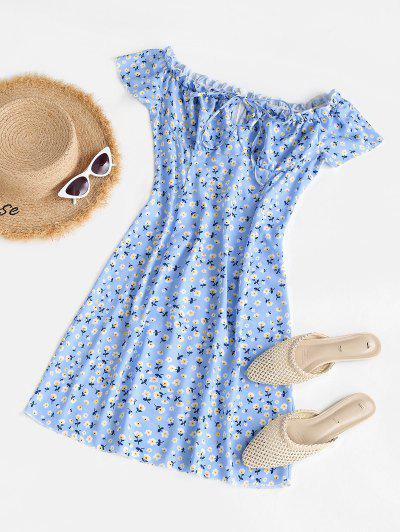 Floral Ruffle Bowknot Mini Dress - Light Blue L