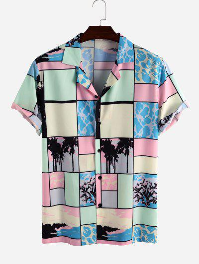Colorblock Patchwork Palm Tree Vacation Shirt - Multi S