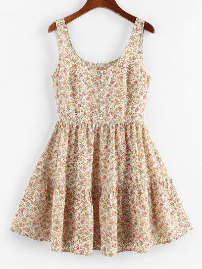 ZAFUL Ditsy Floral Ruched A Line Tank Dress - Light Coffee L