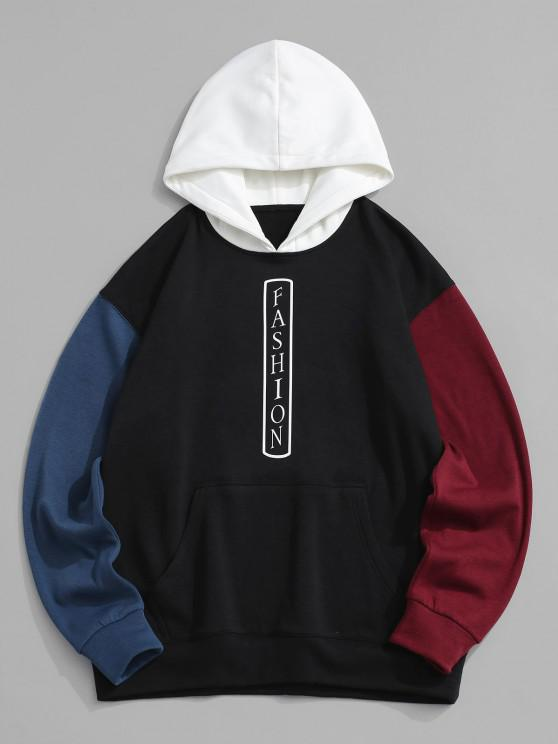 FASHION Colorblock Fleece Lined Hoodie - أسود S