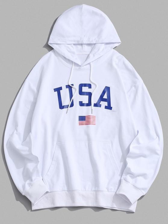 new USA American Flag Print Drop Shoulder Hoodie - WHITE 2XL