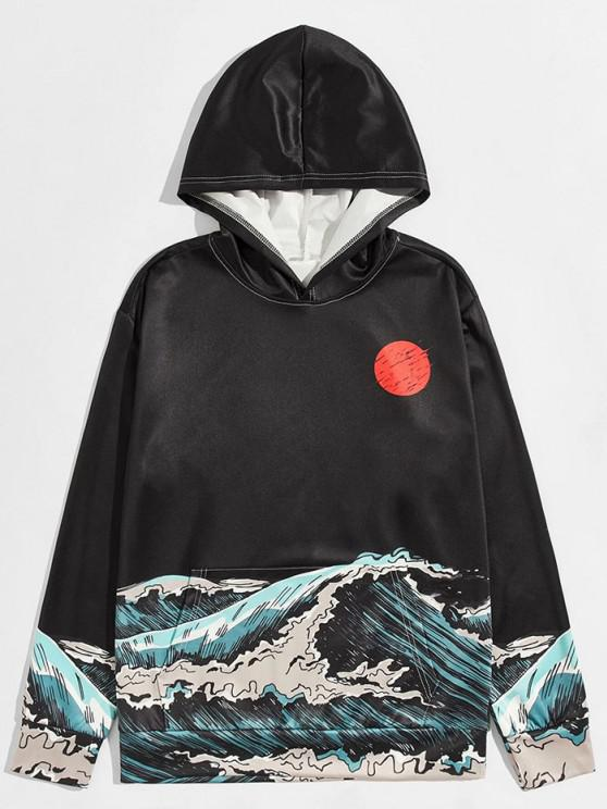 lady Sea Waves Red Sun Print Front Pocket Hoodie - BLACK L