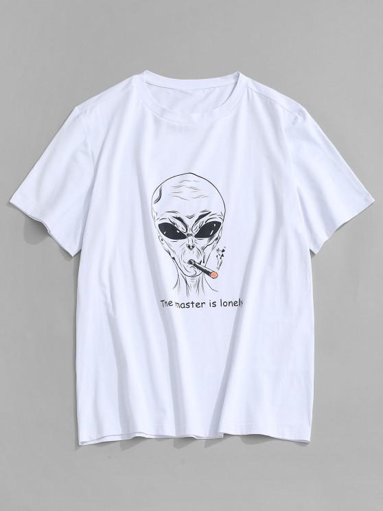 fancy ZAFUL Letter Cartoon Pattern T-shirt - WHITE S