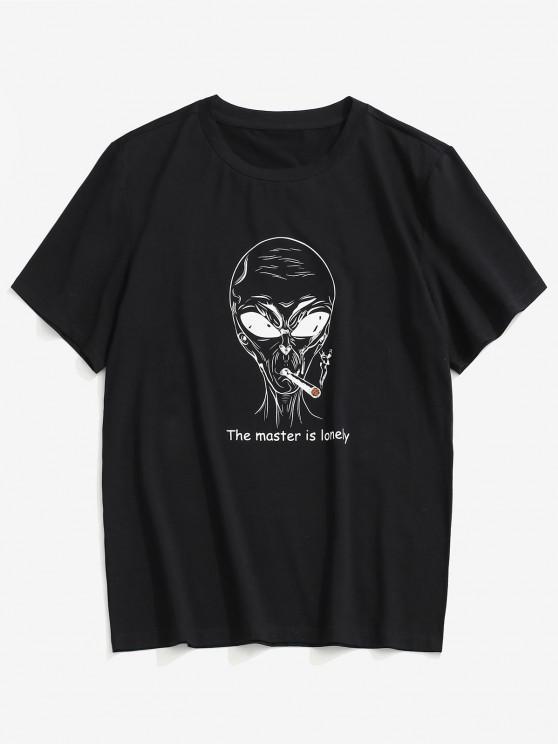 ZAFUL Letter Cartoon Pattern T-shirt - أسود 2XL