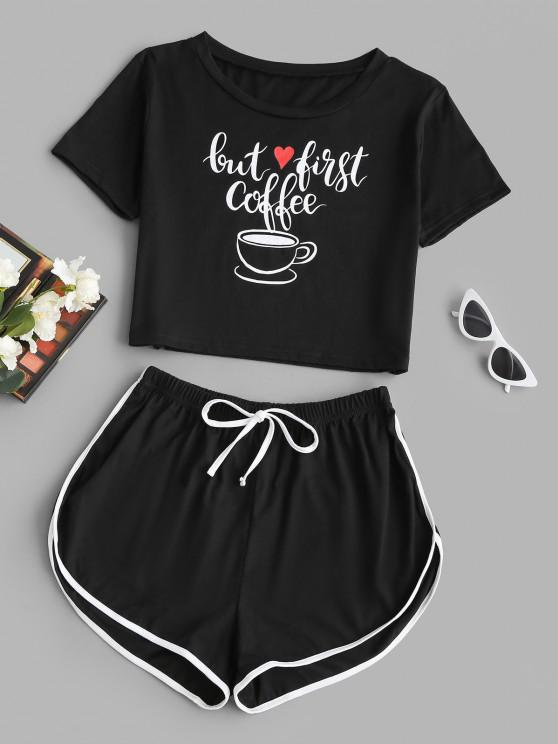 trendy Valentine Heart Coffee Graphic Two Piece Set - BLACK M