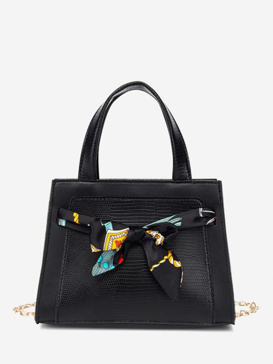 Lizard Embossed Scarf Bow Chain Tote Bag - أسود