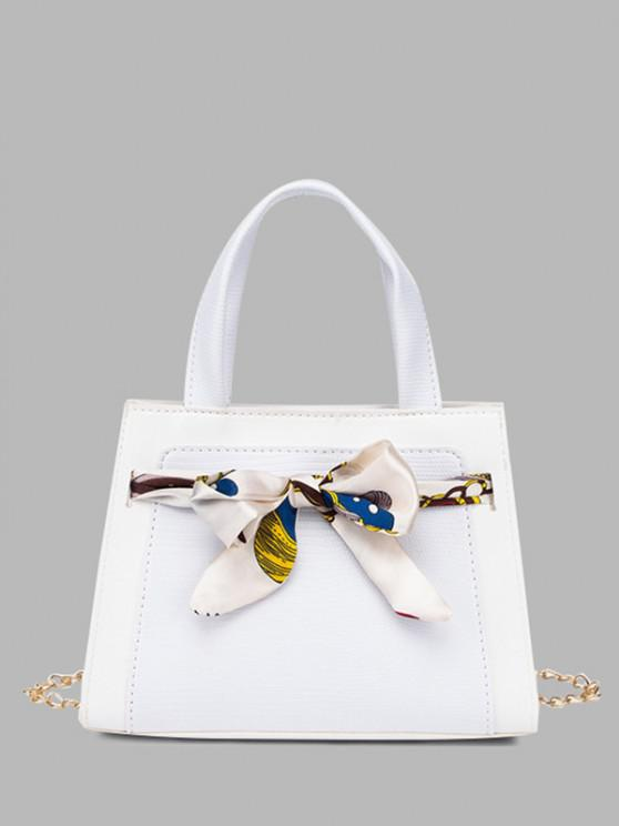 outfits Lizard Embossed Scarf Bow Chain Tote Bag - WHITE
