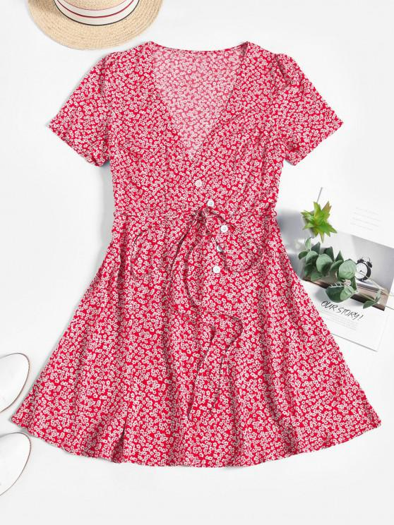 ZAFUL Ditsy Floral Surplice Mini Belted Dress - أحمر XL