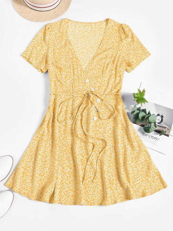 ladies ZAFUL Ditsy Floral Surplice Mini Belted Dress - LIGHT YELLOW L