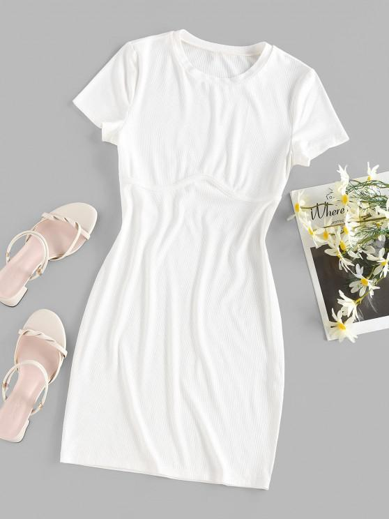 womens ZAFUL Ribbed Fitted Plain Tee Dress - WHITE S