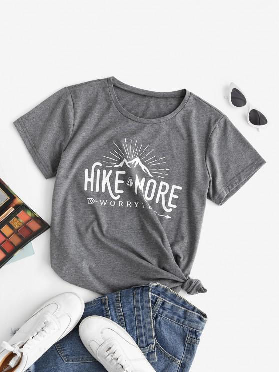 women's Funny HIKE MORE WORRY LESS Graphic Tee - GRAY S