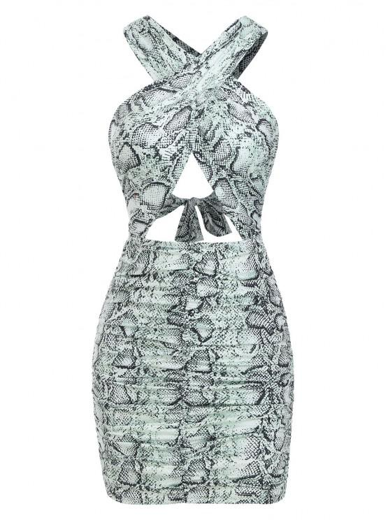 buy Ruched Cut Out Snake Print Slinky Dress - GREEN L