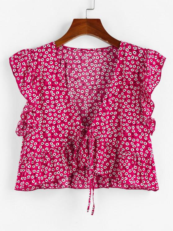 ZAFUL Ditsy Print Ruffle Tie Front Peplum Blouse - أحمر S