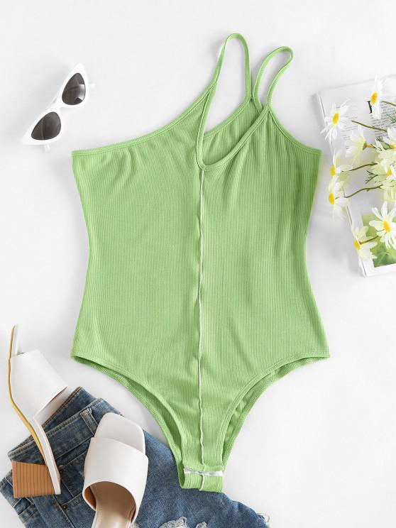 chic ZAFUL Ribbed One Shoulder Cutout Topstitch Bodysuit - LIGHT GREEN S