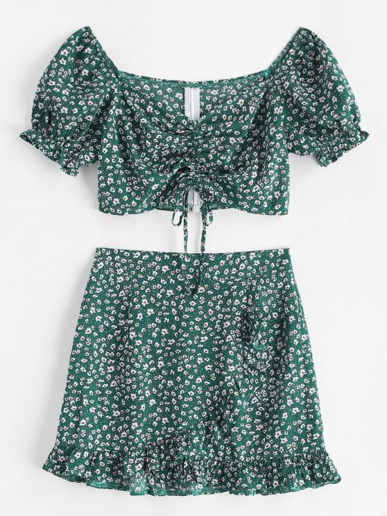 fashion Ditsy Floral Cinched Sweetheart Two Piece Dress - DEEP GREEN M