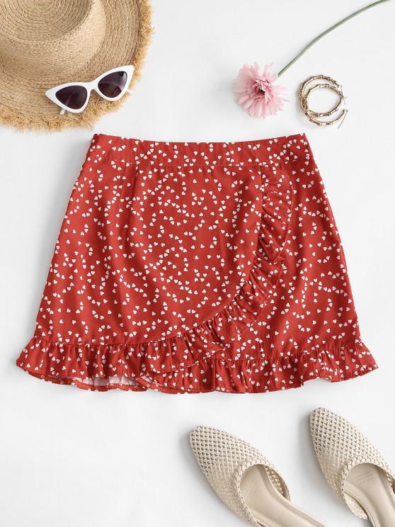 affordable Heart Print Ruffle Mini Skirt - RED S