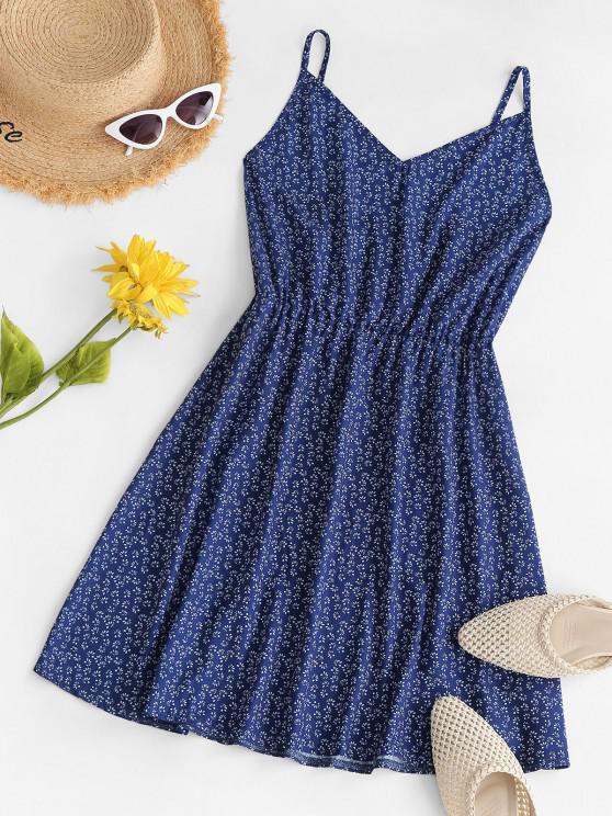 fancy Ditsy Print Cami Smock Dress - DEEP BLUE S